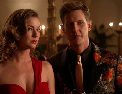 Emily's boobalicious red dress was not too hard on the eyes either